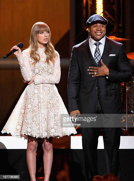 Taylor Swift and LL Cool J onstage at The GRAMMY Nominations Concert Live held at Bridgestone Arena on December 5 2012 in Nashville Tennessee