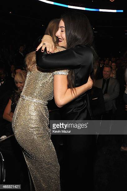 Taylor Swift and Lorde attends the 56th GRAMMY Awards at Staples Center on January 26 2014 in Los Angeles California