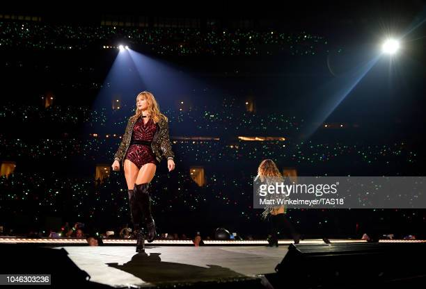Taylor Swift and Maren Morris perform onstage during the reputation Stadium Tour at ATT Stadium on October 5 2018 in Arlington Texas