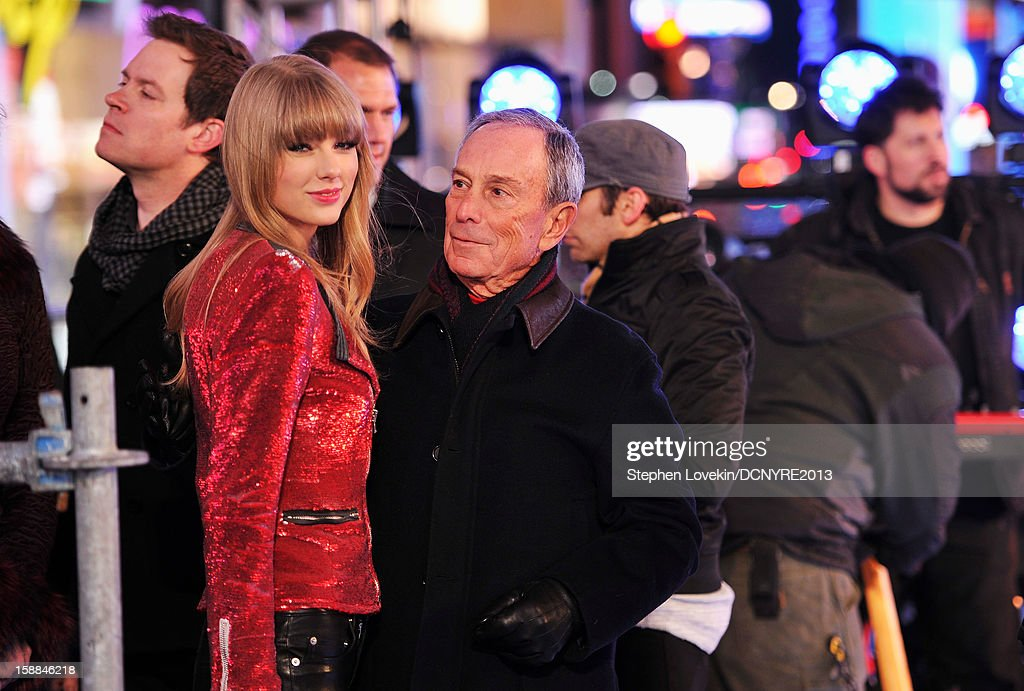 Taylor Swift and New York Mayor Michael Bloomberg onstage at Dick Clark's New Year's Rockin' Eve with Ryan Seacrest 2013 in Times Square on December 31, 2012 in New York City, New York.