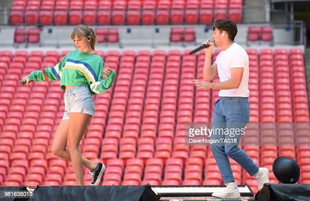 Taylor Swift and Niall Horan during rehearsals ahead of the reputation Stadium Tour at Wembley Stadium on June 22 2018 in London England