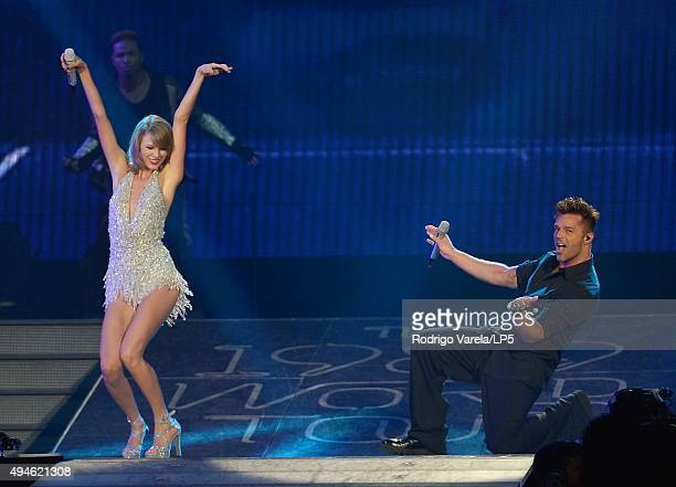 Taylor Swift and Ricky Martin at American Airlines Arena on October 27 2015 in Miami Florida