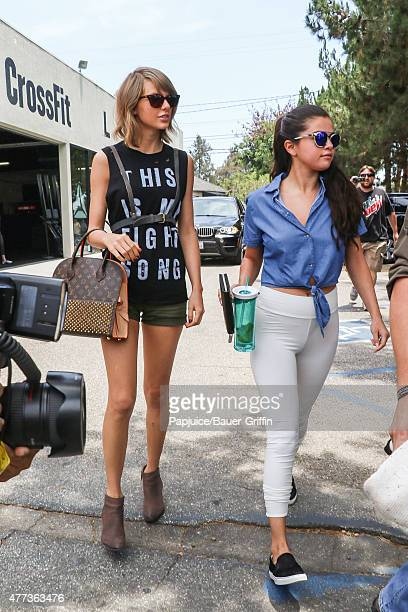Taylor Swift and Selena Gomez are seen on June 16 2015 in Los Angeles California
