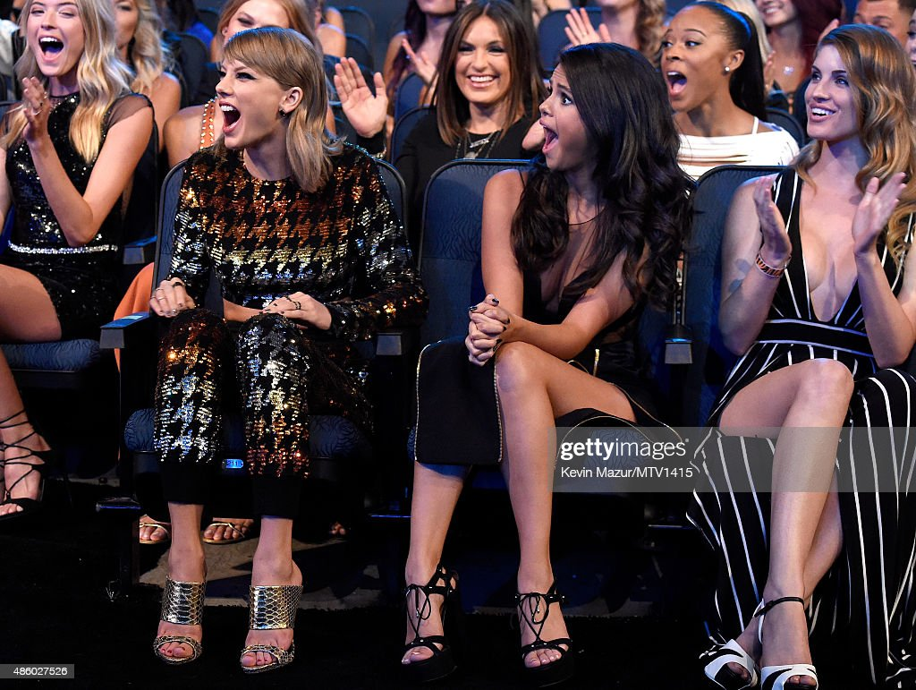 Taylor Swift and Selena Gomez attend the 2015 MTV Video Music Awards at Microsoft Theater on August 30, 2015 in Los Angeles, California.