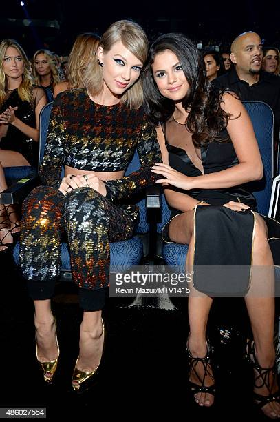 Taylor Swift and Selena Gomez attend the 2015 MTV Video Music Awards at Microsoft Theater on August 30 2015 in Los Angeles California