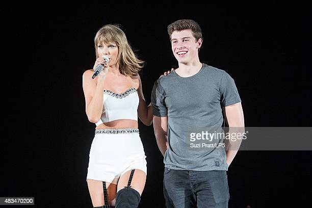 Taylor Swift and Shawn Mendes at CenturyLink Field on August 8 2015 in Seattle Washington