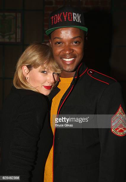 Taylor Swift and the National Touring Cast Lola Harrison Ghee pose backstage at the hit musical Kinky Boots on Broadway at The Al Hirschfeld Theater...