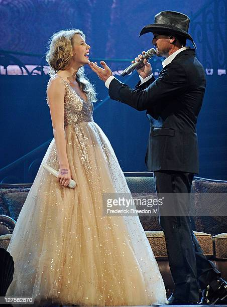 Taylor Swift and Tim McGraw perform at the Bridgestone Arena on September 17 2011 in Nashville Tennessee