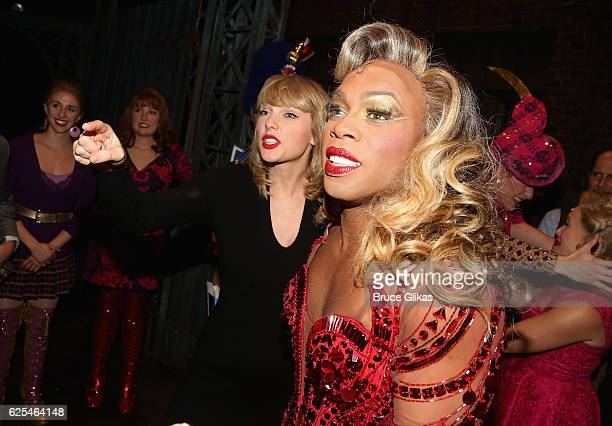 Taylor Swift and Todrick Hall as Lola backstage at the hit musical Kinky Boots on Broadway at The Al Hirschfeld Theater on November 23 2016 in New...