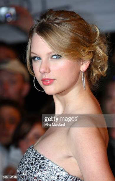 Taylor Swift arrives at the BRIT Awards 2009 at Earls Court on February 18 2009 in London England