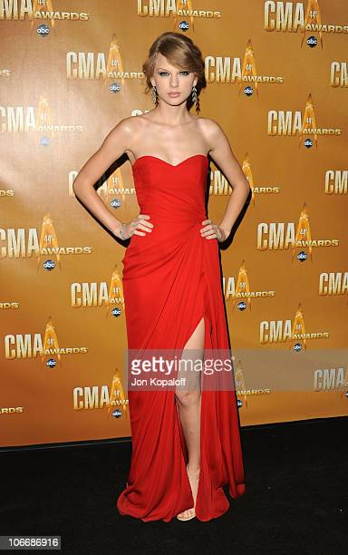 Taylor Swift attends the 44th Annual CMA Awards at the Bridgestone Arena on November 10 2010 in Nashville Tennessee