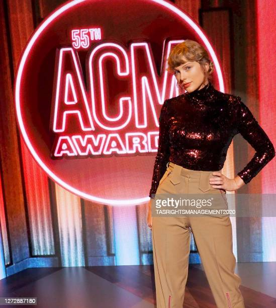 Taylor Swift attends the 55th Academy of Country Music Awards at the Grand Ole Opry in Nashville, Tennessee. The ACM Awards airs on September 16,...