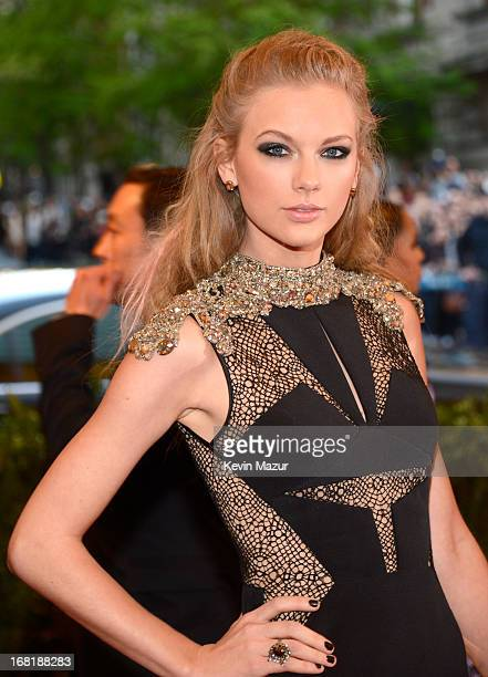 "Taylor Swift attends the Costume Institute Gala for the ""PUNK: Chaos to Couture"" exhibition at the Metropolitan Museum of Art on May 6, 2013 in New..."