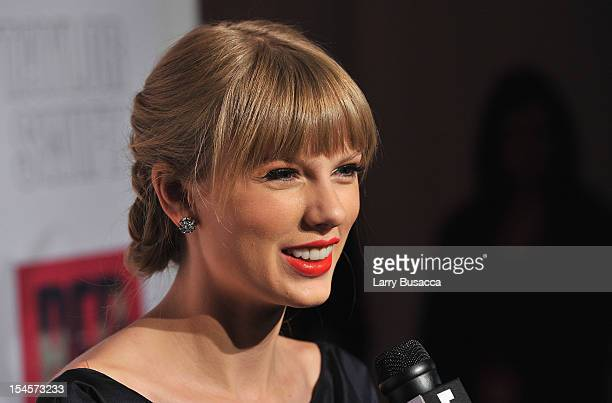 Taylor Swift attends the Taylor Swift and Target Red Deluxe Edition CD Release Launch Party at Skylight West on October 22 2012 in New York City