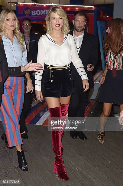 Taylor Swift attends the #TOMMYNOW Women's Fashion Show during New York Fashion Week at Pier 16 on September 9 2016 in New York City