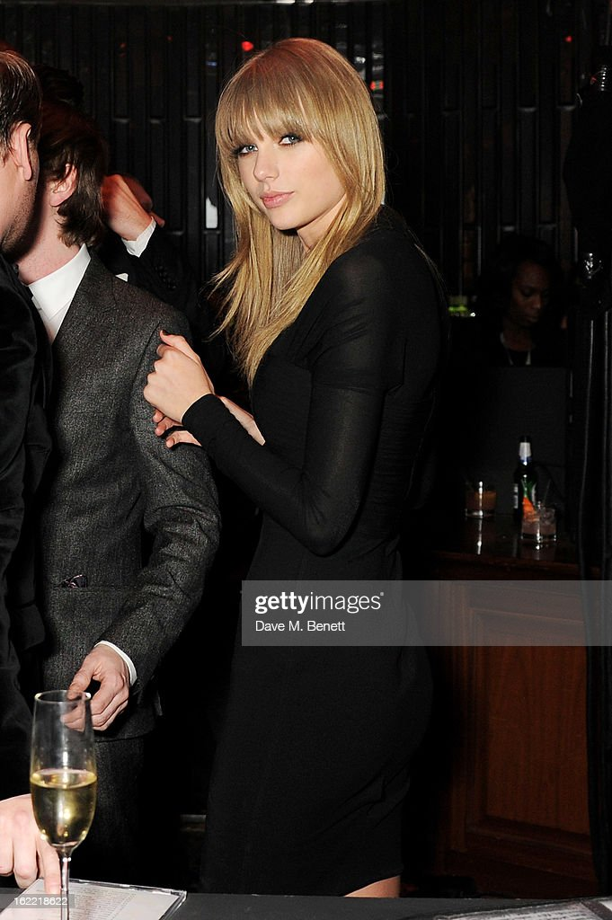 Taylor Swift attends the Universal Music Brits Party hosted by Bacardi at the Soho House pop-up on February 20, 2013 in London, England.