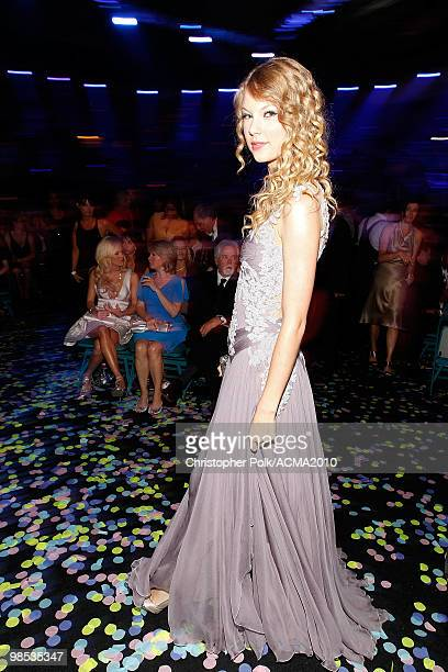 Taylor Swift backstage at the 45th Annual Academy of Country Music Awards at the MGM Grand Garden Arena on April 18 2010 in Las Vegas Nevada