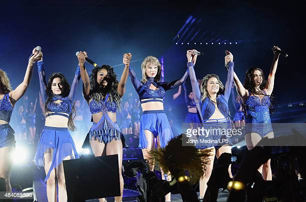 Taylor Swift Camila Cabello Normani Kordei Ally Brooke and Lauren Jauregi of Fifth Harmony perform at Levi's Stadium on August 14 2015 in Santa Clara...