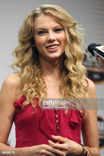 Taylor Swift fields questions from the media at the 2009 CMA Music Festival at LP Field on June 14, 2009 in Nashville, Tennessee.