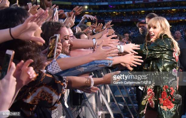 Taylor Swift greets fans during her reputation Stadium Tour at Croke Park on June 16 2018 in Dublin Ireland