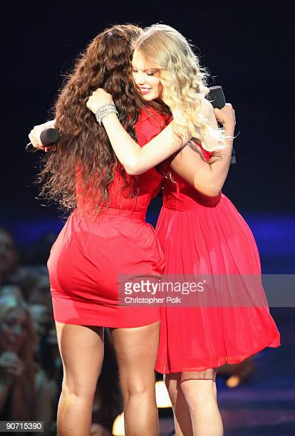 Taylor Swift hugs Beyonce after she allowed her to finish her speech that was cut short by Kanye West after Beyonce won Best Video of the Year during...
