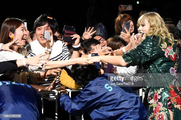 Taylor Swift interacts with fans at Taylor Swift reputation Stadium Tour in Japan presented by Fujifilm instax at Tokyo Dome on November 21 2018 in...