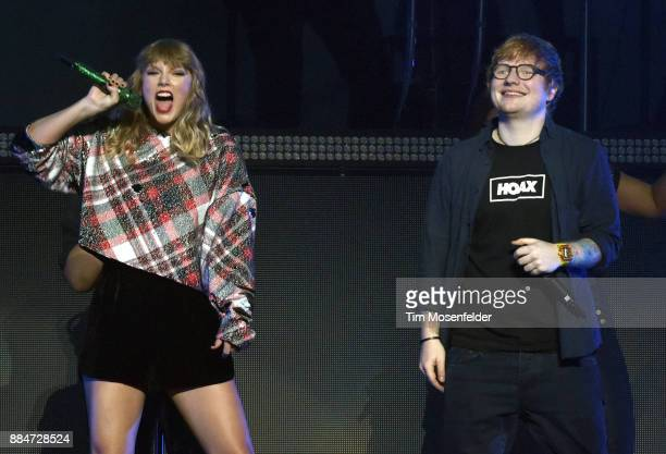 Taylor Swift is joined by Ed Sheeran during 997 NOW POPTOPIA at SAP Center on December 2 2017 in San Jose California