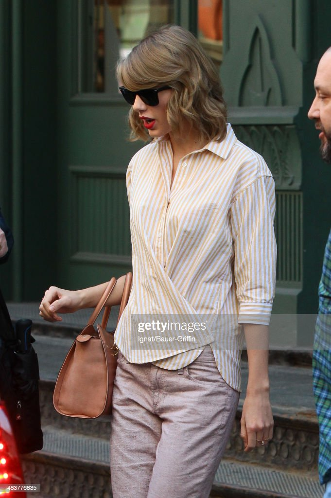 Taylor Swift is seen on April 10, 2014 in New York City.