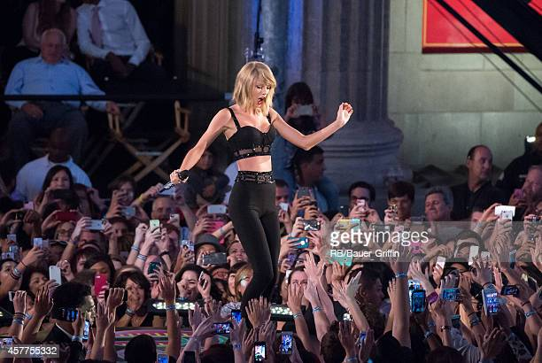Taylor Swift is seen performing on 'Jimmy Kimmel Live' on October 23 2014 in Los Angeles California