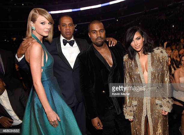 Taylor Swift Jay Z Kanye West and Kim Kardashian West attend The 57th Annual GRAMMY Awards at STAPLES Center on February 8 2015 in Los Angeles...
