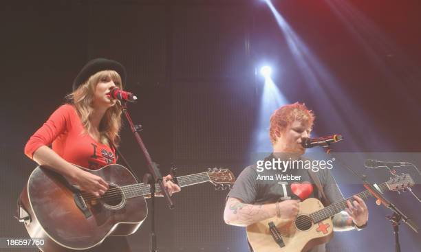 Taylor Swift joins Ed Sheeran on stage at his soldout show at Madison Square Garden Arena on November 1 2013 in New York City