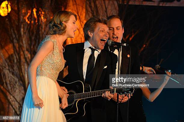 Taylor Swift Jon Bon Jovi and Prince William Duke of Cambridge perform during the Winter Whites Gala In Aid Of Centrepoint on November 26 2013 in...