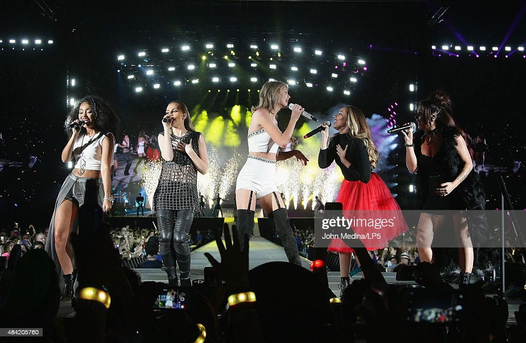 Taylor Swift (C), Leigh-Anne Pinnock, Perrie Edwards, Jesy Nelson and Jade Thirlwall of Little Mix perform together during Swift's 'The 1989 World Tour' at Levi's Stadium on August 15, 2015 in Santa Clara, California.