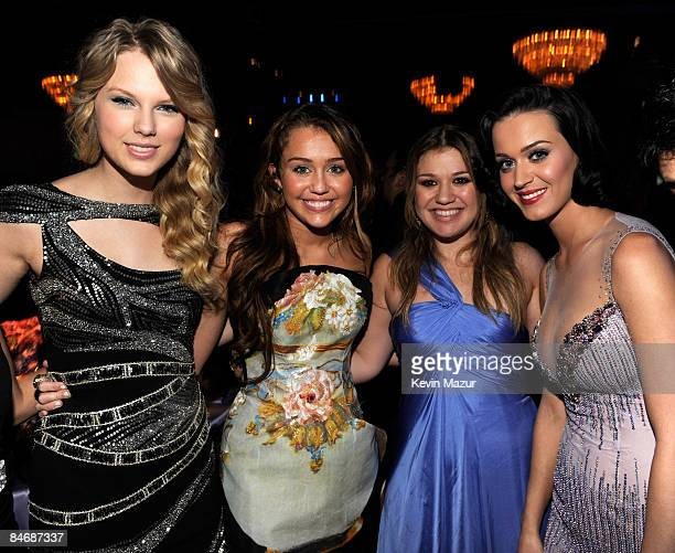 Taylor Swift Miley Cyrus Kelly Clarkson and Katy Perry attends the 2009 GRAMMY Salute To Industry Icons honoring Clive Davis at the Beverly Hilton...
