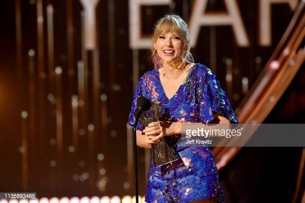 Taylor Swift on stage at the 2019 iHeartRadio Music Awards which broadcasted live on FOX at the Microsoft Theater on March 14 2019 in Los Angeles...