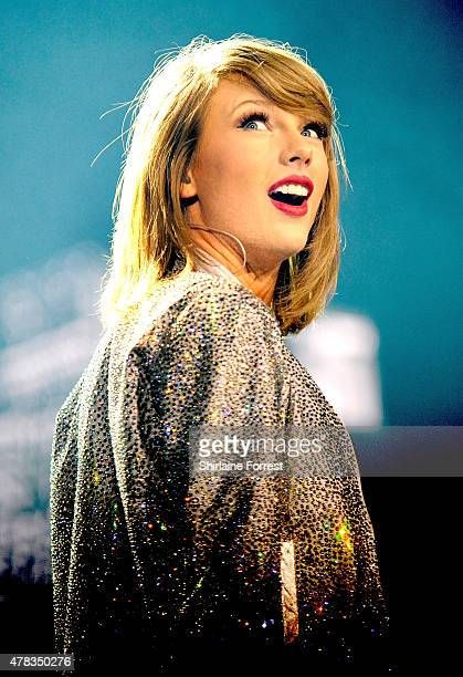 Taylor Swift performs at Manchester Arena on June 24 2015 in Manchester England