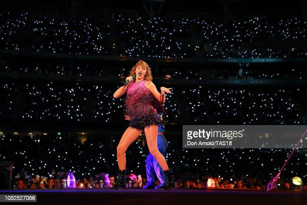 Taylor Swift performs at Optus Stadium on October 19 2018 in Perth Australia