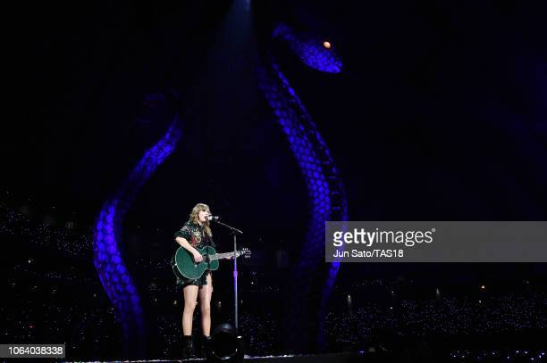 Taylor Swift performs at Taylor Swift reputation Stadium Tour in Japan presented by Fujifilm instax at Tokyo Dome on November 21 2018 in Tokyo Japan