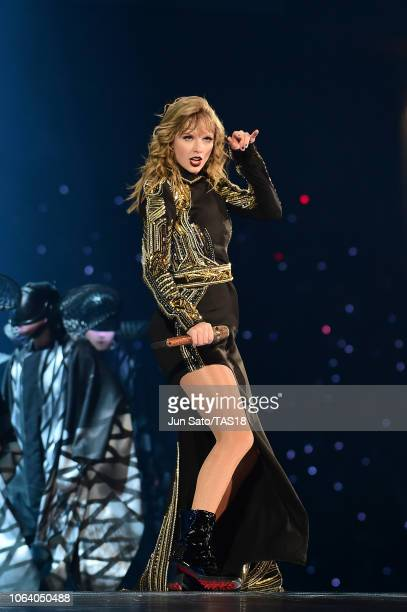 Taylor Swift performs at Taylor Swift reputation Stadium Tour in Japan presented by Fujifilm instax at Tokyo Dome on November 21, 2018 in Tokyo,...