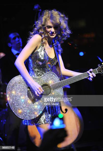 Taylor Swift performs at Time's 100 most influential people in the world gala at Frederick P. Rose Hall, Jazz at Lincoln Center on May 4, 2010 in New...