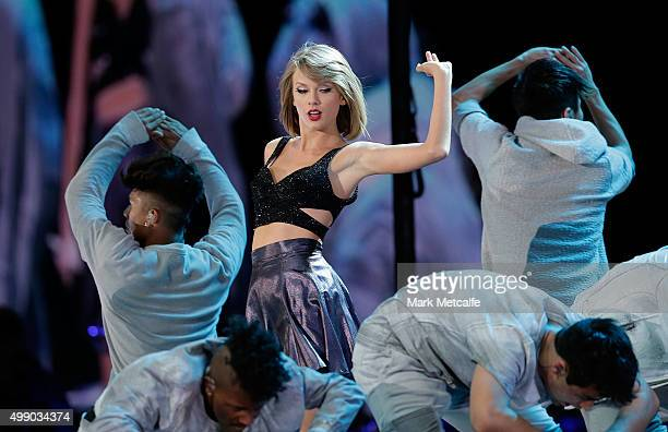 Taylor Swift performs during her '1989' World Tour at ANZ Stadium on November 28 2015 in Sydney Australia