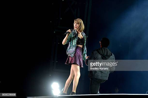 Taylor Swift performs during her '1989' World Tour at Suncorp Stadium on December 5 2015 in Brisbane Australia