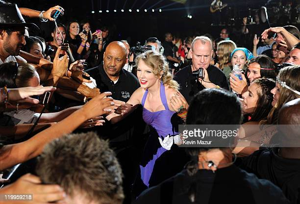 Taylor Swift performs during her Speak Now tour at Prudential Center on July 24 2011 in Newark New Jersey Taylor Swift wows crowds and critics with...