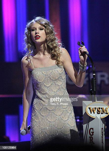 Taylor Swift performs during the Grand Ole Opry 85th birthday bash at the Grand Ole Opry House on October 9 2010 in Nashville Tennessee
