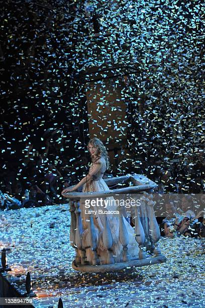 Taylor Swift performs during the Speak Now World Tour at Madison Square Garden on November 21 2011 in New York City Taylor Swift wrapped up the North...