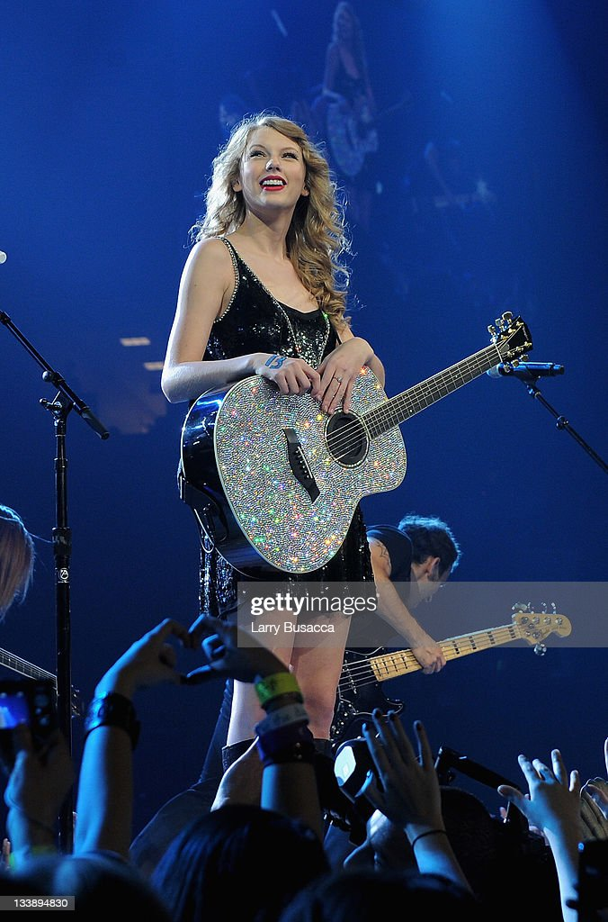 Taylor Swift performs during the 'Speak Now World Tour' at Madison Square Garden on November 21, 2011 in New York City. Taylor Swift wrapped up the North American leg of her SPEAK NOW WORLD TOUR with two sold-out shows at Madison Square Garden this week. In 2011, the tour played to capacity crowds in stadiums and arenas over 98 shows in 17 countries spanning three continents, and will continue in 2012 with shows Australia and New Zealand.