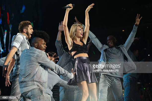 Taylor Swift performs live on stage during the 1989 World Tour Live at Singapore Indoor Stadium on November 7, 2015 in Singapore.