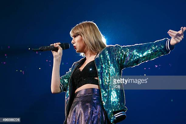 Taylor Swift performs live on stage during the 1989 World Tour Live at MercedesBenz Arena on November 10 2015 in Shanghai China