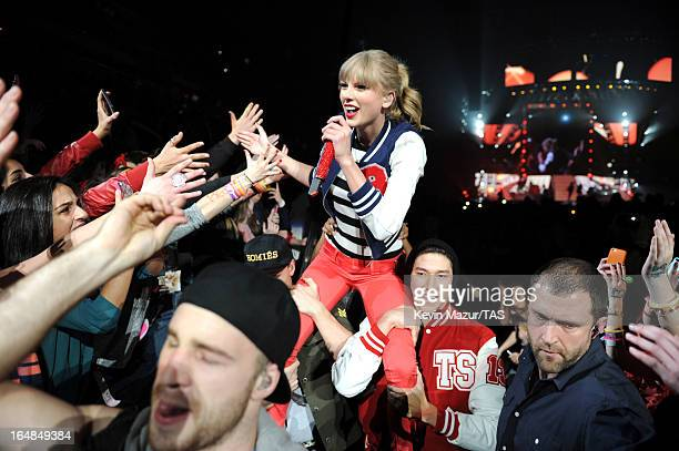 Taylor Swift performs on stage at Prudential Center on March 28 2013 in Newark New Jersey Seventime GRAMMY winner Taylor Swift plays 3 soldout NY...