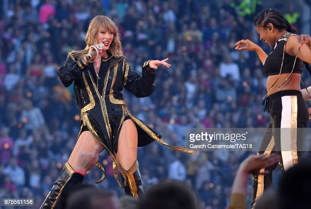 Taylor Swift performs on stage during her reputation Stadium Tour at Croke Park on June 15 2018 in Dublin Ireland